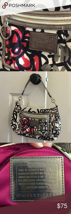 COACH Poppy Graffiti bag #M0982-14734 Limited edition graffiti flower print. Black & white w/ hot pink accent. Silver hardware. Silver leather trim ( which shows minimal wear, see last pic) Hot pink satin lining. Zip top closure w/ 1 ext zip pocket, 1 into zip pocket & 2 into slip pockets. Great condition inside & out. Coach Bags
