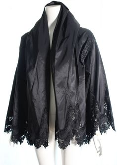 VINTAGE ROMEO GIGLI CALLAGHAN BLK TAFFETA EMBROIDERED LACE HOODED JACKET,SZ 44 #RomeoGigliCallaghan #ALineSwing #Versatile