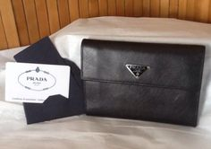 Auth Prada Saffiano Nero M510 Lge Black Flap-Over Snap Coin/Card/Bill Guc L@@K!