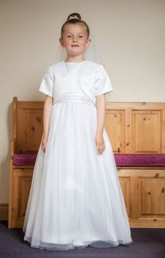 Holy Communion Dress - White Satin Tulle First Communion Dress with Jacket - Olivia K OK311 - Plain Simple First Holy Communion Dress for a Girl -