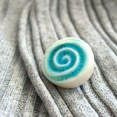 Porcelain Dot Pin - Lagoon - Spiral £9.50