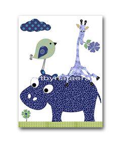 Giraffe Nursery Baby Boy Nursery room Decor Baby boy wall art print