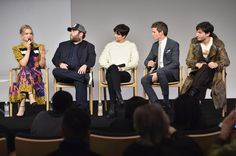 "Alison Sudol and Ezra Miller Photos Photos - (L-R) Actors Alison Sudol, Dan Fogler, Katherine Waterston, Eddie Redmayne and Ezra Miller attend the Apple Store Soho presentation of Meet the Cast: ""Fantastic Beasts And Where To Find Them"" at Apple Store Soho on November 9, 2016 in New York City. - Apple Store Soho Presents Meet the Cast: 'Fantastic Beasts and Where to Find Them'"