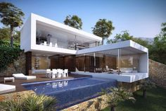 CGI Product Rendering of Modern Home with Pool #modern interior design #modern home design| http://home-design-florian.blogspot.com
