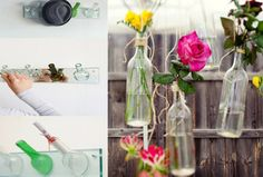 #A great idea for that romantic dinner in the garden, with glass bottles used as rose holders  #reuse, #repurpose, #glass bottles  http://www.designrulz.com/product-design/2012/08/20-ideas-of-recycle-wine-bottles/