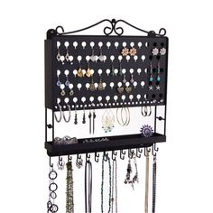 Hanging Jewelry Organizer, Earring Holder Wall Mount Necklace Rack, Bracelet Display, Ring Storage (Metal), Accessory Angel by Angelynn's Wall Mount Jewelry Organizer, Jewelry Holder, Earring Holders, Necklace Holder, Jewelry Box, Jewelry Closet, Bracelet Organizer, Hanging Organizer, Diy Hanging