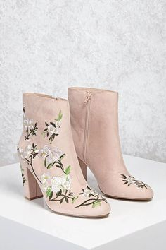 Product Name:Faux Suede Embroidered Boots, Category:Shoes, Ankle Booties, Bootie Boots, Shoe Boots, Shoes Heels, Shoe Bag, Suede Booties, Pretty Shoes, Cute Shoes, Me Too Shoes