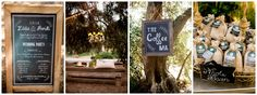 Highland Springs Resort Reception in the Olive Grove. Chalk Board Signs, Coffee Favors, burlap bags, Bench Seating for cocktail hour. Outdoor Chandelier. Brady Puryear Photography