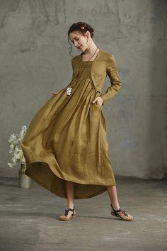 linen dress, maxi dress, Layered Maxi Linen Dress In Golden Green, linen tunic dress, Long Linen Dress, Loose Fitting Linen Kimono, wedding