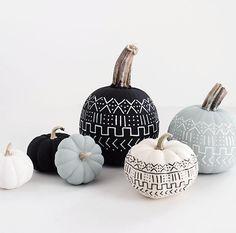 Citrouilles peintes inspiration lainage DIY Halloween