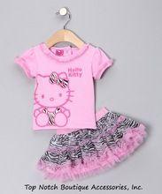 2014 niños del verano nuevos Girl 's 2 pic Hello Kitty juego lindo de la muchacha de la ropa del bebé fija puntos puntos falda pantalones chicas ropa(China (Mainland))