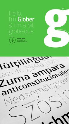 The 75 Best Free Fonts for 2014 - The Glober font is characterized by excellent legibility in both webs and print designs areas. It is well-finished geometric designs, excellent web font performance, optimized kerning and legibility. Free Typeface, Typography Fonts, Typography Design, Lettering, Typo Design, Serif Typeface, Print Design, Great Fonts, Cool Fonts