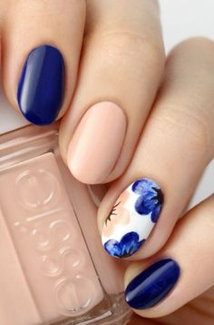 Neutral Floral If you want to embrace spring but don t love sugary pastels opt for a navy and nude manicure with a floral accent nail It s bold soft and best of all seasonal Click through for more Easter nails # Easter Nail Designs, Easter Nail Art, Nail Designs Spring, Nail Art Designs, Nails Design, Nail Designs Floral, Cute Spring Nails, Spring Nail Art, Cute Nails