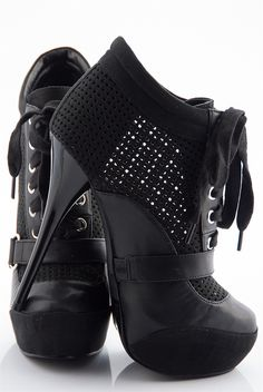 Party Perfect Perforated Bootie Platform Stilettos - Black