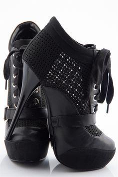 Party Perfect Perforated Bootie Platform Stilettos - Black