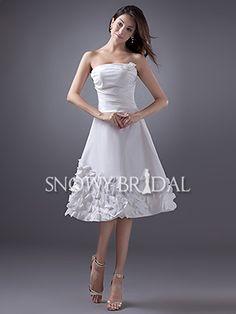 Summer Informal White A-Line Short Flower Strapless Wedding Dress - US$89.99 - Style W0729 - Snowy Bridal