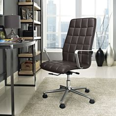 Cushion your progress with the Tile Highback Office Chair in Vinyl. Steadily advance through the day with a finely upholstered boxed seat pattern and sleek brushed aluminum armrests sure to impress. Tile comes with a. Office Chair Cushion, Mesh Office Chair, Office Chairs, Desk Chair, Business Furniture, Find Furniture, Office Furniture, Kitchen Chairs, Bar Chairs