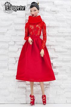 ELENPRIV red lace poloneck top for Fashion Royalty FR2 and