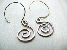 Copper Earrings Celtic Spiral Earrings Celtic by AdornWireStudio