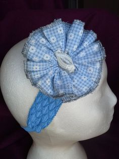 Blue Gingham Button Rosette headband $4.00