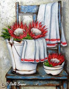 Art by Stella Bruwer white enamel bucket with 2 large red and white flowers white cloth with red stripe. Stack of enamel bowls it one large red and white flower blue shabby chair with another white cloth with red stripe Protea Art, Decoupage Vintage, Art Floral, Stella Art, Fleurs Diy, Still Life Art, Country Art, Tole Painting, Pictures To Paint