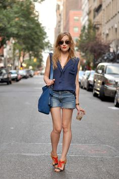 Blue top and denim shorts