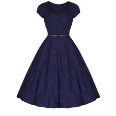 'Victoria' Blue Jacquard Swing Dress
