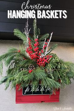 Christmas Hanging Baskets Clean and Scentsible Pretty rustic Christmas hanging baskets with fresh greenery. Source by cleanscentsible Rustic Christmas, Winter Christmas, Handmade Christmas, Christmas Wreaths, Christmas Crafts, Christmas Decorations, Holiday Decor, Christmas Ideas, Christmas Porch