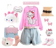 """""""Marie"""" by lilcuriosity ❤ liked on Polyvore featuring Accessorize, Disney, La Cartella, Dorothy Perkins, Swedish Hasbeens, Hello Kitty, disney, ddlg, cgl and mdlg"""