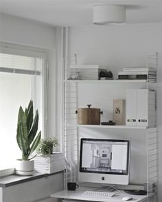 time of the aquarius Small Workspace, Small Space Office, Small Spaces, Office Spaces, Home Desk, Home Office, Desk Office, Gray Interior, Interior Design