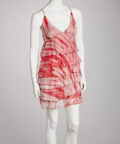 Take a look at this Ash & Sara Red Tie-Dye Ruffle Sleeveless Dress on zulily today!