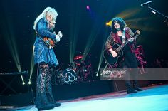 Nancy Wilson and Ann Wilson of Heart perform during the Bumbershoot Music Festival at Seattle...