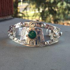 Bracelet manchette turquoise Thunderbird-manchette d'amérindiennes en argent Sterling