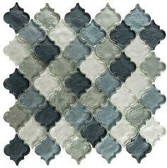 gray glass arabesque tile mosaic