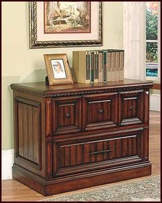 Solid Wood Lateral File Cabinet In Walnut Stain w Two-Drawers Hudson Furniture, Hooker Furniture, Business Furniture, Home Office Furniture, High Point Furniture, Organizing Paperwork, Organization, Drawer Filing Cabinet, Parker House