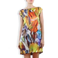 $175 Brushstroke.......digital print silk mini dress  | Cargoh