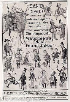 SANTA CLAUS REINDEER WATERMAN PENS ANTIQUE GRAPHIC ADVERTISING POSTER PRINT 1907