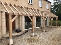 Made in Oak, Oak Framed Porches Front Porch Pergola, Front Porch Posts, House Front Porch, Front Porch Design, Porch Roof, Pergola With Roof, Country Front Door, Wooden Carports, Porch Canopy