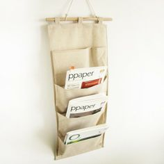 Linen Canvas four tier hanging Storage bag by miiuoo on Etsy