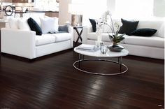 Dark flooring makes white furniture stand out