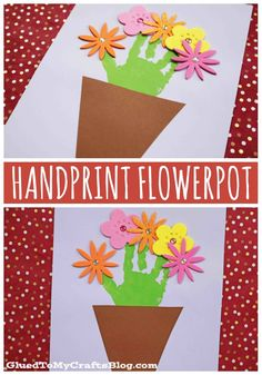 Handprint Flowerpot Keepsake Craft - I'm planning on putting ours in my scrapbook but I could see this being turned into a Mother's Day gift! Craft Tutorials, Craft Projects, Craft Ideas, Keepsake Crafts, Board For Kids, Teacher Cards, Easy Crafts For Kids, My Scrapbook, Keepsakes