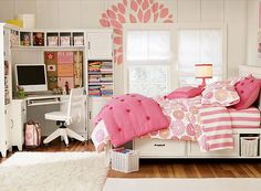 Awesome interior teenage girls bedroom decor with pink linen and pillows
