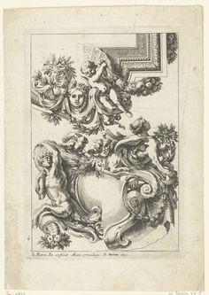 Jean Lepautre | Plafond en cartouche, Jean Lepautre, c. 1658 - c. 1670 | Rechtsonder zit een sfinx op een cartouche, met een variant. Uit derde kwart.