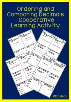 This is a differentiated learning activity that can be used to explore Decimal Numbers. It meets and exceeds common core standards for mathematics. Students work in pairs to order and compare decimal numbers using the Sage and Scribe cooperative learning approach.