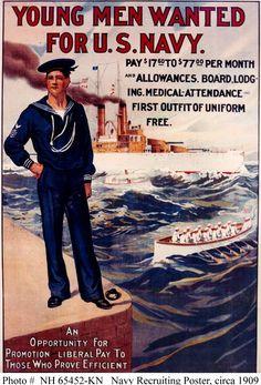 Navy Recruiting Poster, circa 1909