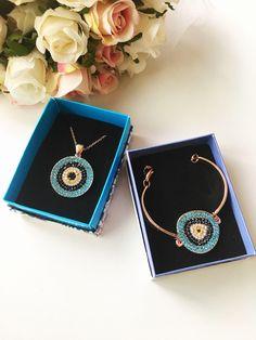 Evil eye jewelry, evil eye necklace, evil eye bracelet, rose gold jewelry set, bridesmaid jewelry set, jewelry gift box, zirconia jewelry #jewelry #rosegold #wedding #evileye #bracelet #bridejewelry #evileyenecklace #evileyebracelet #mothersdaygift #gift #jewelrygift #zirconia
