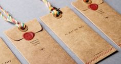 from the dyed strings, to the handmade envelopes, sealing wax, and stitching. Handmade Envelopes, Paper Envelopes, Kraft Envelopes, Pretty Packaging, Packaging Design, Paper Packaging, Retail Packaging, Things Organized Neatly, Graphic Projects
