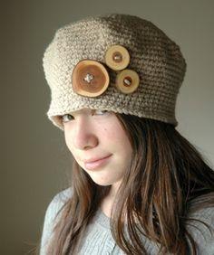 1920 Vintage Style Hat Crochet  Hat Beige Crochet por TeaPartyHats, $37.00