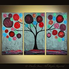 Tree painting original acrylic triptych on canvas blue red