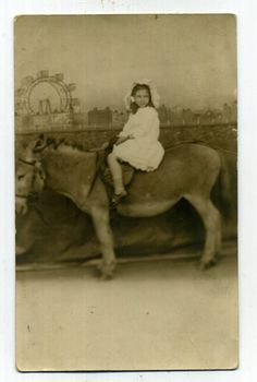 GIRL ON DONKEY BLACKPOOL PLEASURE BEACH postcard